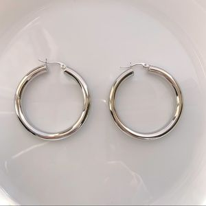Jewelry - SILVER HOOP EARRINGS THICK TUBE HOOPS